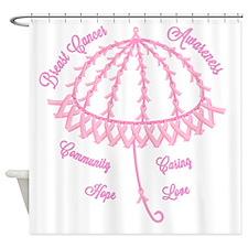 Pink Ribbon Umbrella Shower Curtain