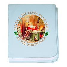 Santa & His Elves Read His Mail baby blanket