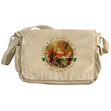 Santa & His Elves Read His Mail Messenger Bag