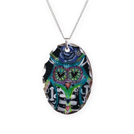 owl 1 Necklace Oval Charm