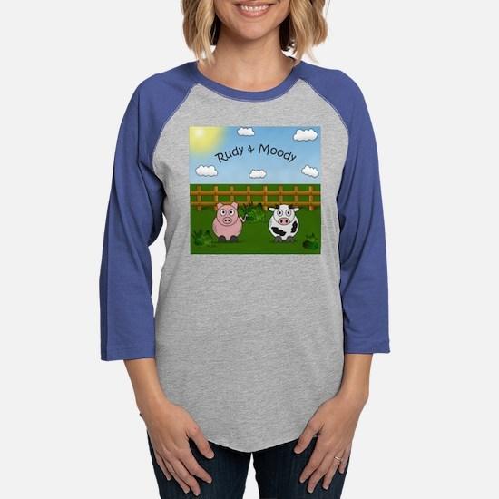 Rudy & moody Cow and Pig Funny Womens Baseball Tee