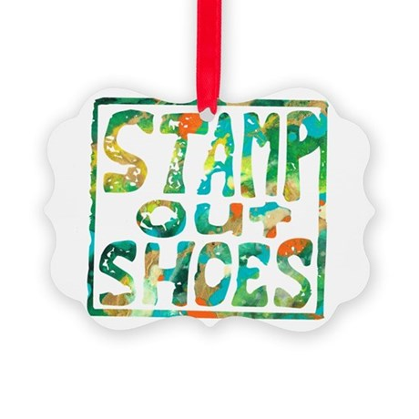 Stamp Out Shoes Happy Picture Ornament