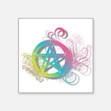 """Flowery Pentacle Square Sticker 3"""" x 3"""""""