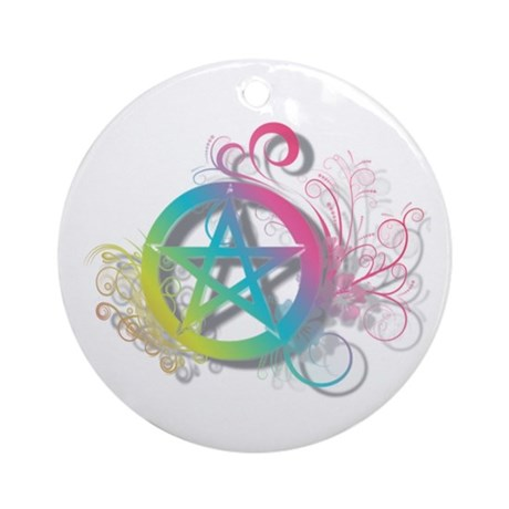Flowery Pentacle Ornament (Round)