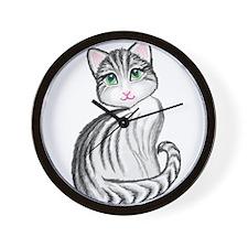 cute gray tiger kitty Wall Clock