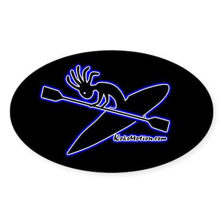 Kokopelli Kayaker Oval Sticker