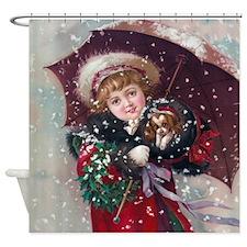 Cute Christmas Girl Shower Curtain