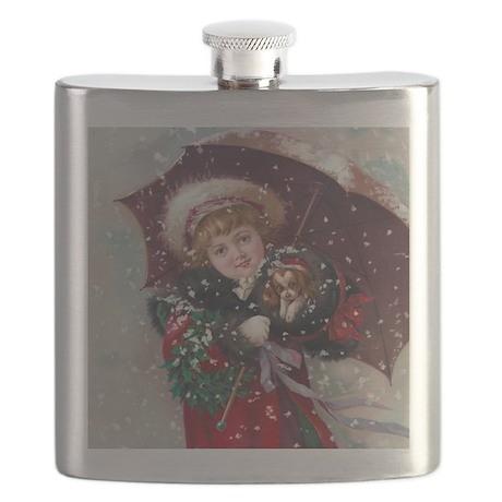 Cute Christmas Girl Flask