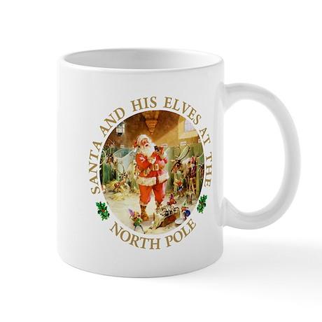 Santa & His Elves at the North Pole Stable Mug
