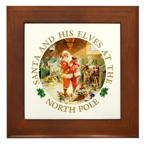 Santa & His Elves at the North Pole Stable Framed