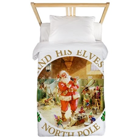 Santa & His Elves at the North Pole Stable Twin Du