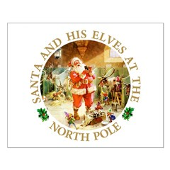 Santa & His Elves at the North Pole Stable Posters