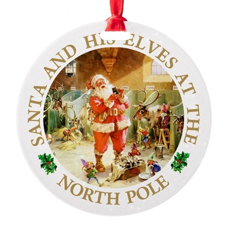 Santa & His Elves at the North Pole Stable Round O