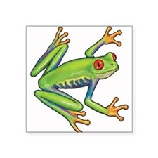 "Green Frog Square Sticker 3"" x 3"""
