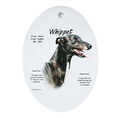 Whippet Oval Ornament