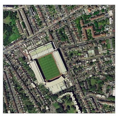 Arsenal's Highbury stadium, aerial view Poster