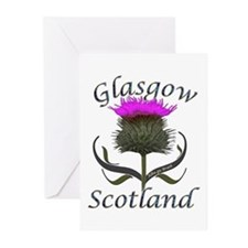 Glasgow Scotland Thistle Greeting Cards (Pk of 10)