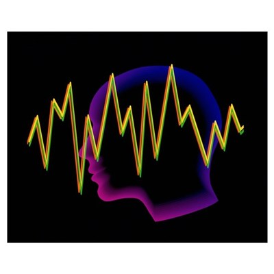 Artwork of a brainwave superimposed on a Framed Print