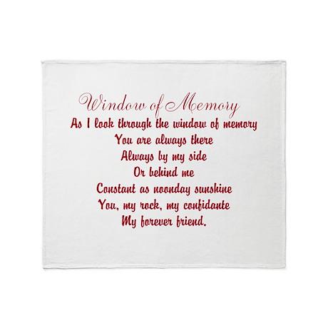 Window of Memory Poem Throw Blanket