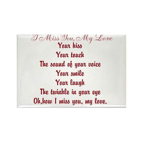 I Miss You My Love Poem Rectangle Magnet