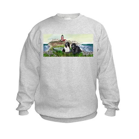 Two Newfs Seascape Kids Sweatshirt