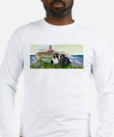 Two Newfs Seascape Long Sleeve T-Shirt