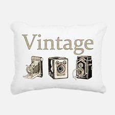 Vintage-Tan and Black Rectangular Canvas Pillow