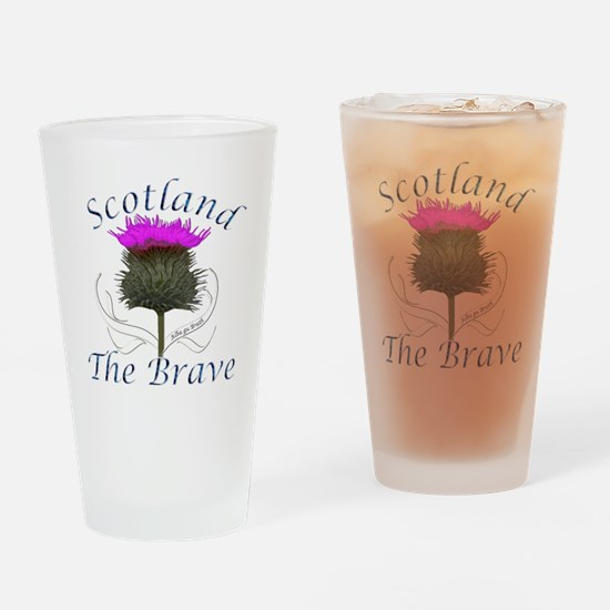 Scotland The Brave Thistle Drinking Glass