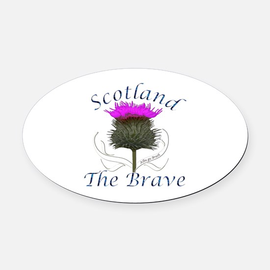 Scotland The Brave Thistle Oval Car Magnet