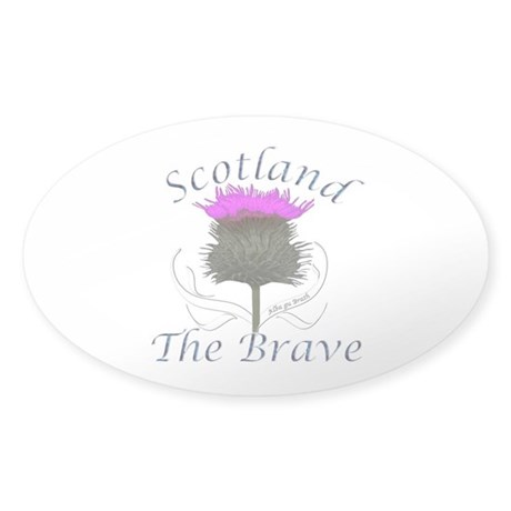 Scotland The Brave Thistle Sticker (Oval)