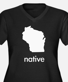 Native Women's Plus Size V-Neck Dark T-Shirt