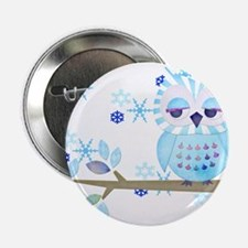 """Blue Striped Winter Snow Owl 2.25"""" Button (10 pack"""