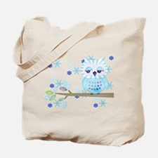 Blue Striped Winter Snow Owl Tote Bag