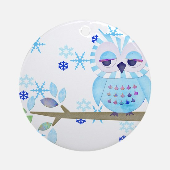 Blue Striped Winter Snow Owl Ornament (Round)