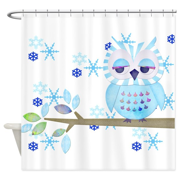 blue striped winter snow owl shower curtain by