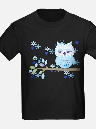 Blue Striped Winter Snow Owl T