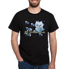 Blue Striped Winter Snow Owl T-Shirt
