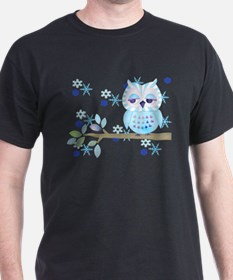 Blue Striped Winter Snow Owl T-Shirt