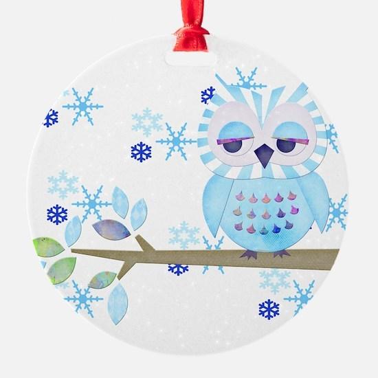 Blue Striped Winter Snow Owl Round Ornament