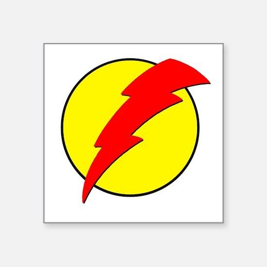 "A Red Lightning Bolt Square Sticker 3"" x 3"""