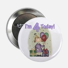 Birthday Girl 4th Birthday Button