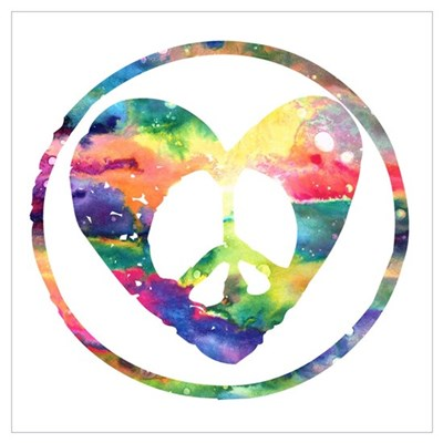 Rainbow Peace Heart C Wall Art Poster