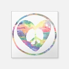 "Rainbow Peace Heart C Square Sticker 3"" x 3"""