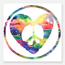 "Rainbow Peace Heart C Square Car Magnet 3"" x 3"""