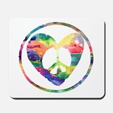 Rainbow Peace Heart C Mousepad
