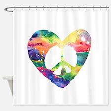 Rainbow Peace Heart Shower Curtain