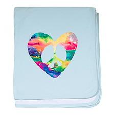 Rainbow Peace Heart baby blanket