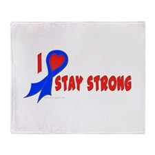 Blue I Heart/Support Stay Strong Throw Blanket