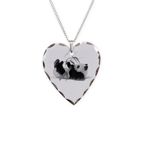Giant Panda Necklace Heart Charm