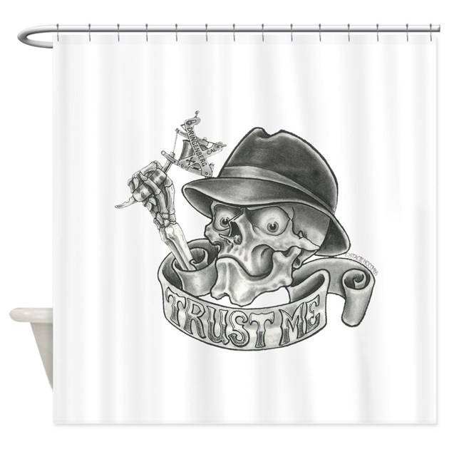 Wicked skull with tattoo machine shower curtain by for How to shower with a new tattoo